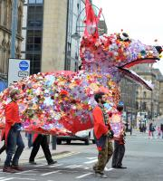 This gigantic corgi was created to celebrate the Queen's Jubilee in 2012!