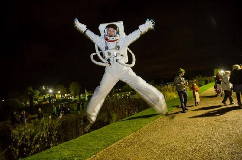 The Bouncing Spaceman bounced on Bonfire Night - gravity disappeared and he floated and moonwalked across the firework-filled sky!